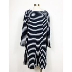 J. Crew Factory Navy & White Striped Dress Large